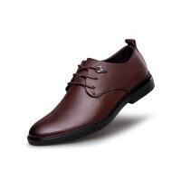 商务正装皮鞋男潮青年真皮英伦尖头单鞋子系带潮婚鞋头层牛皮男鞋