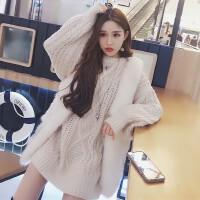 2017秋冬新款菱格纹纯色针织衫上衣宽松粗线长袖套头麻花毛衣女装