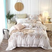 家纺双面天丝四件套80支春夏季床单被套冰丝床上用品 乳白色 艾斯