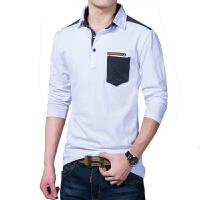 秋季男士长袖T恤韩版修身翻领打底衫青年时尚休闲体恤衫上衣服潮