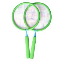 �和�羽毛球拍����球拍�p拍拍柔�玩具3-12�q小孩�敉庾舆\�油婢� �G色�p拍(2-7�q)�A拍 送5只球+1��球包