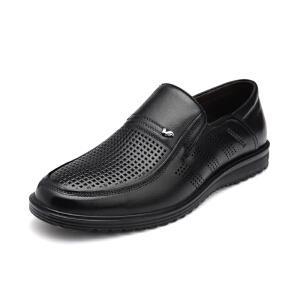 富贵鸟 镂空透气皮鞋男士真皮商务休闲皮鞋男鞋套脚爸爸鞋夏季凉鞋