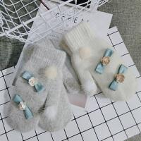 羊毛连指手套女冬韩版可爱学生卡通骑车滑雪保暖加绒加厚户外手套