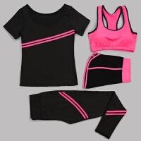 瑜伽服套装春夏健身房 想、舒适跑步运动女四件套健身衣新款 黑