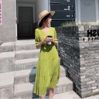 大码女装法式复古连衣裙胖妹妹mm2019夏季新款高腰洋气显瘦桔梗裙
