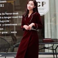 金丝绒chic风衣外套女秋冬季韩版腰带收腰修身中长款过膝大衣