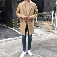 韩版男士毛呢大衣中长款宽松驼色呢子外套新款学生羊绒大衣潮