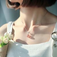 水晶项链女锁骨链满天星链925银原创转运草莓晶粉晶