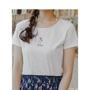 茵曼夏装新款圆领印花简约百搭弹性棉短袖T恤女【1882022625】
