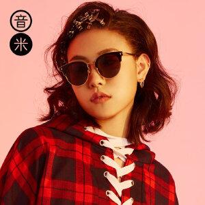 音米偏光太阳镜女潮明星款 半框墨镜女圆脸司机镜亲子款眼镜