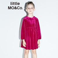 【到手价449】littlemoco女童连衣裙光泽感华丽丝绒公主裙洋气高腰派对连衣裙