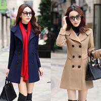 冬季优雅女装30-40-50岁中年妈妈中长款西装领气质毛呢子外套大衣