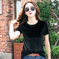 短袖T恤女韩版新款体恤衫夏装黑色丝绒显瘦半袖潮上衣打底衫