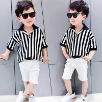 幼儿polo衫短袖男宝宝T恤上衣 男童牛仔短裤套装2018新款韩版时尚