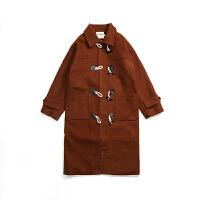 情侣装秋冬装新款韩范加厚宽松牛仔扣中长款呢大衣男女BF呢料外套
