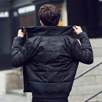 反季清仓男士韩版潮流立领羽绒服青年帅气迷彩加厚冬季中长款外套