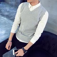纯棉 秋冬季男士毛衣加绒针织衫背心马甲V领线衣纯色坎肩上衣服潮