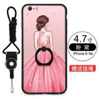 iPhone6s手机壳 苹果6splus保护套 6s手机壳套 保护壳 自带指环支架壳 外壳 卡通黑胶一体指环浮雕彩绘软