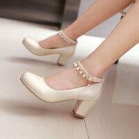 新款韩版浅口秋季单鞋女中跟粗跟鞋防水台高跟鞋百搭女鞋子潮