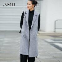 Amii高帅型装 100%羊毛双面呢外套 女2017冬装新毛边宽松长款马甲