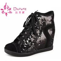 达芙妮女鞋内增高短靴 秋冬 时尚亮片内增高前系带女靴