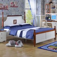 尚满 儿童卧室家具床 板木儿童床 单双人板式床 地中海王子床 免费改色
