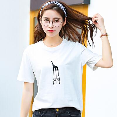 夏季新品韩版宽松百搭圆领长颈鹿印花棉短袖T恤女装上衣