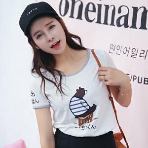 新品韩版修身百搭夏装短袖T恤棉圆领女装上衣小衫潮