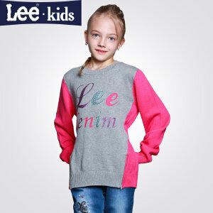 LEE童装 秋季新款女童印花上衣长袖圆领毛衣儿童时尚百搭毛衣