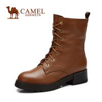 camel骆驼女靴 时尚休闲 冬季新款系带中筒靴潮流马丁靴