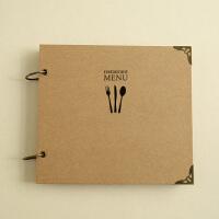方形刀叉菜单本:牛皮纸内页 DIY空白手绘菜牌 咖啡馆菜谱价目表