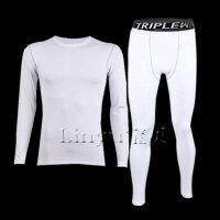 白色紧身衣运动背心男篮球跑步吸汗弹力短袖训练健身服打底裤 L 135斤以下
