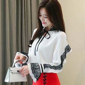 2019春装新款韩版系带通勤网纱蕾丝拼接透雪纺衫上衣3008#