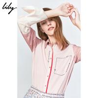 【限时一口价289元】全场叠加100元券 Lily2019冬新款女装时尚拼色定位印花珍珠扣肌理感通勤衬衫4909