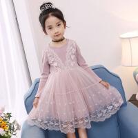韩版童装女童蕾丝长袖连衣裙秋季蓬蓬网纱中大童公主裙儿童礼服裙