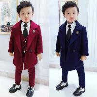 儿童男童西装套装2017新款韩版英伦男宝男宝宝冬装三件套加厚毛呢