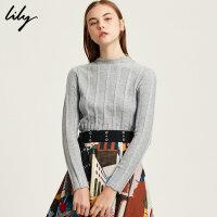 Lily2017冬新款OL时尚气质竖条纹毛衣半高领毛衣117449B8954