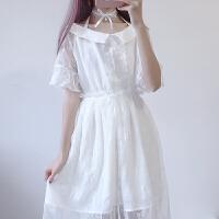 夏季新款女装甜美挂脖绑带蕾丝短袖连衣裙高腰半身裙学生两件套女