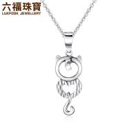 六福珠宝PT950铂金吊坠优雅猫公主铂金吊坠不含链 GCPTBP0002