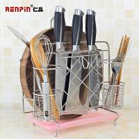 仁品不锈钢刀架刀座厨房用品置物架收纳砧板菜板菜刀架筷子筒壁挂