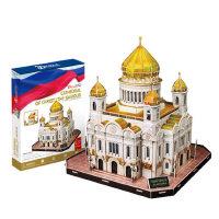 3D立体拼图建筑纸模 莫斯科救世主大教堂模型创意益智玩具