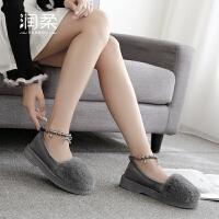 棉鞋秋冬季女士豆豆鞋时尚居家居厚底防滑室内棉拖鞋包跟毛毛月子鞋