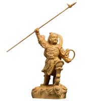黄杨木雕家居饰品创意实木客厅雕刻手工艺品人物佛像汽车摆件哪吒 +礼盒