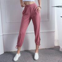 薄款高腰舞蹈瑜伽裤宽松束脚显瘦跑步健身七分裤速干运动裤女