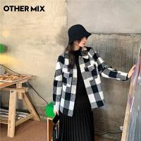七格格othermix黑白格纹毛呢大衣女2020秋冬新款时尚小个子宽松显瘦短外套