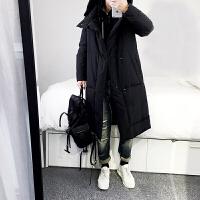 羽绒服男长款2017冬季新款青年中长款连帽韩版加厚大码男装外套潮 黑色