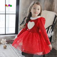 韩国女童连衣裙加绒加厚宝宝裙子秋冬儿童公主裙爱心圣诞红色礼服