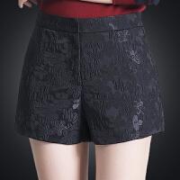 前拉链 短裤女秋冬季外穿大码显瘦高腰阔腿裤新款休闲宽松打底裤 黑色 前拉链款