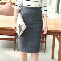 毛呢包臀裙后开叉半身裙秋冬中长款高腰职业铅笔裙显瘦呢子一步裙 X