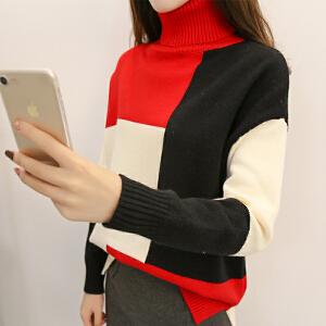 2018短款拼色毛衣女新款韩版套头宽松显瘦学生高领开叉针织衫潮女